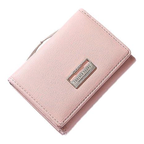 KELIEF Carteras de Damas con Clip Monedero Portatarjetas de Bolsillo Billetera pequeña Monedero Femenino Dk Pink