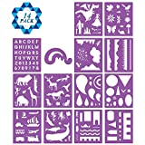 #6: SOTOGO 14 Pcs Plastic Stencils Set Craft Educational Toys for Kids - Over 150 Patterns Painting Stencils for Children with 1 Zipper Case