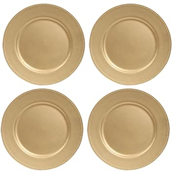 Amazon.com Gold Plastic Plates with Beaded Rims 13\  (Standard Packaging) Kitchen \u0026 Dining & Amazon.com: Gold Plastic Plates with Beaded Rims 13\