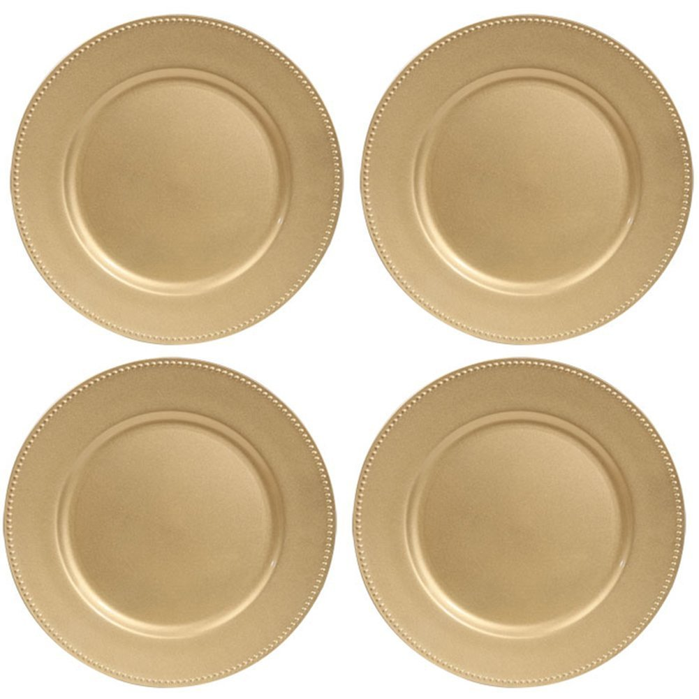 Gold Plastic Plates with Beaded Rims, 13'' (Standard Packaging)