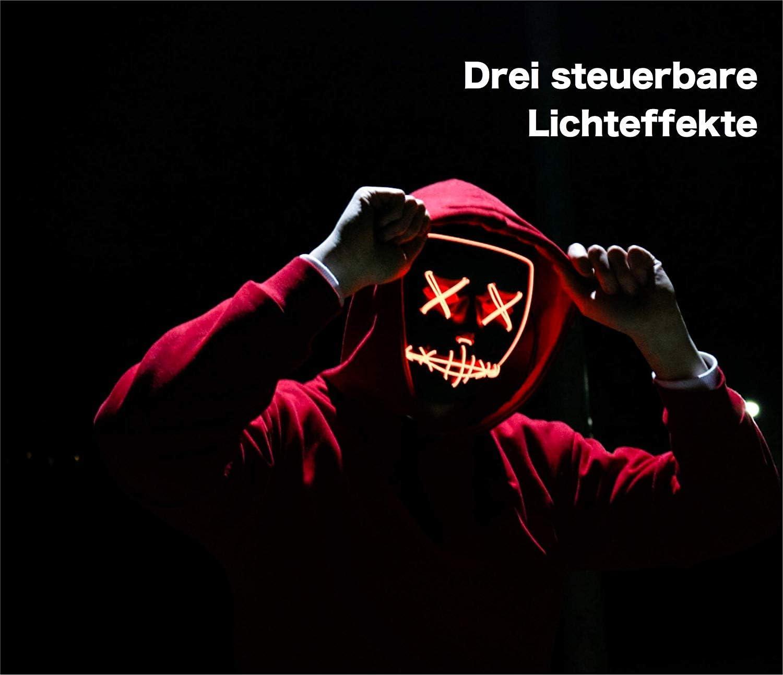 5X blau steuerbar TK Gruppe Timo Klingler 5X LED Grusel Maske blau f/ür Halloween als Kost/üm f/ür Herren /& Damen wie aus Purge inkl Batterien mit 3X Lichteffekten