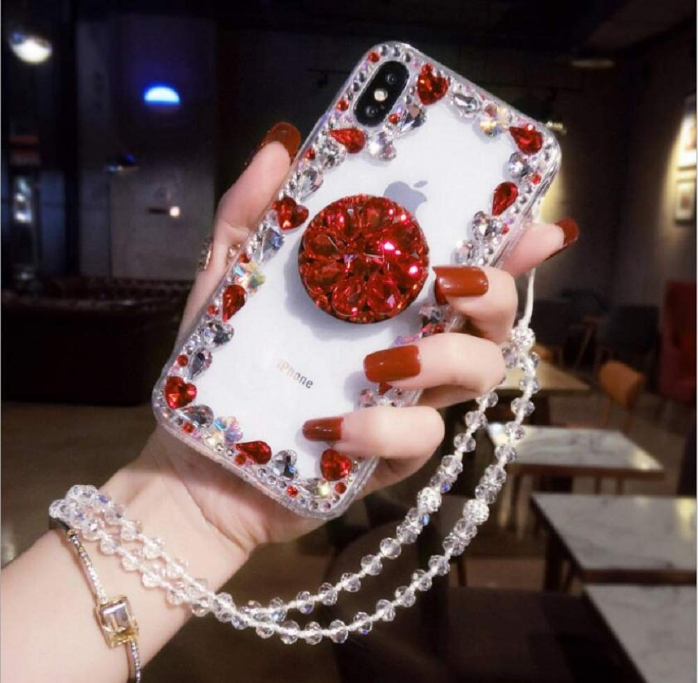 Amocase Diamond Clear Case with 2 in 1 Stylus for Samsung Galaxy M10/A10,Luxury Girly 3D Handmade Gemstone Soft Rubber Bumper Ring Stand Holder Bling Case with Crystal Neck Lanyard - Red by Amocase