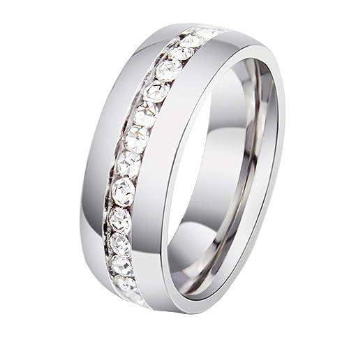 HIJONES Schmuck Damen Edelstahl Einreihig Diamant Ring (Erhältlich Grosses 50-70)