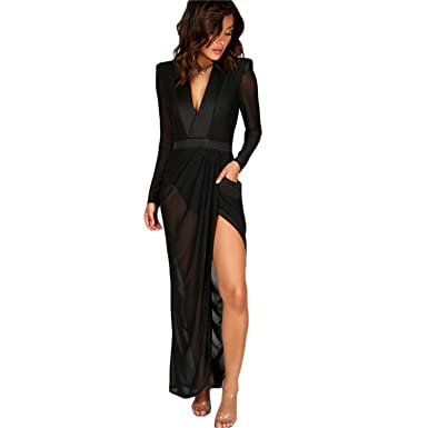 547fa38dc82 Sexy Wrap Sheer Club Dress Women Black Deep V Neck Shoulder Pads Maxi  Dresses Long Sleeve Dress at Amazon Women s Clothing store