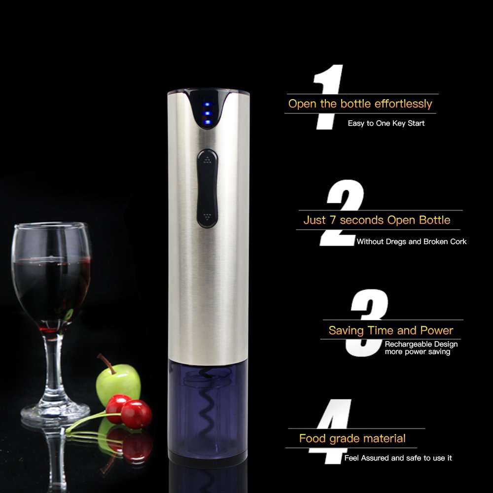 Electric Wine Opener with Foil Cutter Automatic Corkscrew and Foil Remover Stainless Steel One Touch Wine Bottle Opener Perfect Gift for Any Wine Lover (Stainless Steel Electric Wine Opener) by YonRui (Image #3)