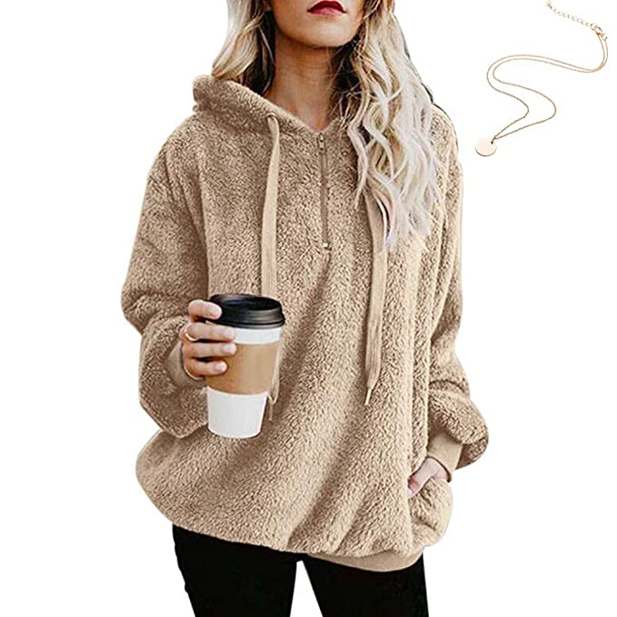 KOERIM Women s Warm Fuzzy Oversized Sherpa Pullover Hoodie Pockets  (Necklaces)  Amazon.ca  Clothing   Accessories 33686dc39