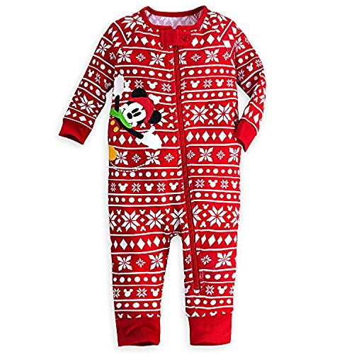 - Disney Store Mickey Mouse Holiday Stretchie Sleeper Baby 12-18 Months (12-18m) Red