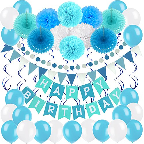 Birthday Decoration Set, Zerodeco Happy Birthday Banner Bunting with 4 Paper Fans Tissue 6 Paper Pom Poms Flower 10 Hanging Swirl and 20 Balloon for Birthday Party Decorations -Blue,Sky Blue and White]()