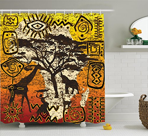Ambesonne African Decorations Collection, African Animals in Safari Theme Ancient Cultral Ethnic Art Grunge Style Bohemian House Decor, Polyester Fabric Bathroom Shower Curtain Set with Hooks,