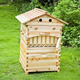 Automatic Flow Bee Hive, Wooden Honey Flow Beehive House with 7 pcs Flow Frames
