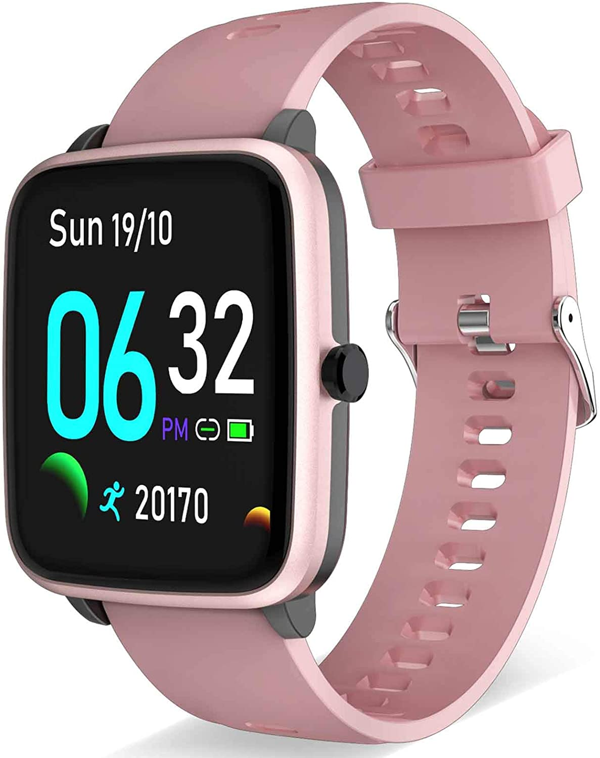Smart Watch - Fitness and Health Tracker for Men Women with All-Day Heart Rate Monitor Step Calorie Burned Sleep Monitor Smartwatch Activity Tracker Pedometer Compatible with Android iPhone (Pink)