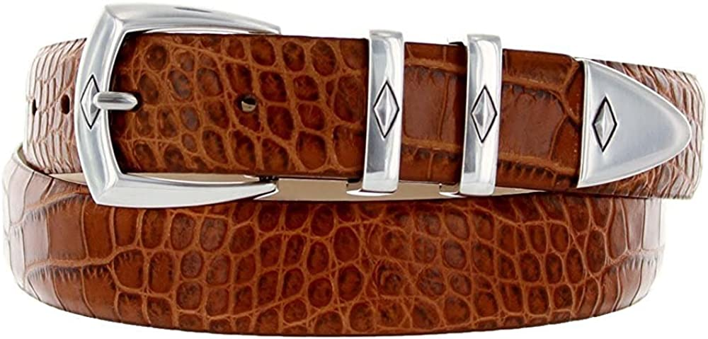 Hagora Men 30 mm Wide Italian Calfskin Embossed Or Smooth 4 Piece Buckle Belt