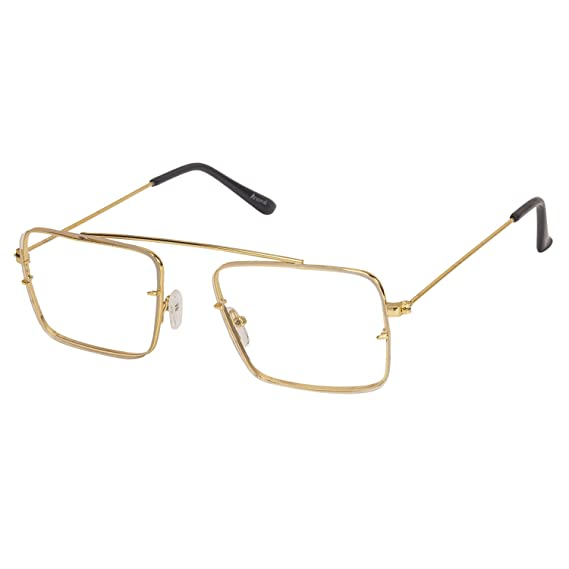 38f72f3be6 Arzonai Raees Rectangle Shape Gold-Transparent UV Protection Sunglasses