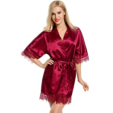 62138d2db7de SELEEPER Dress Short Satin Wedding Dress Robe Silk Robe with Wine Red L