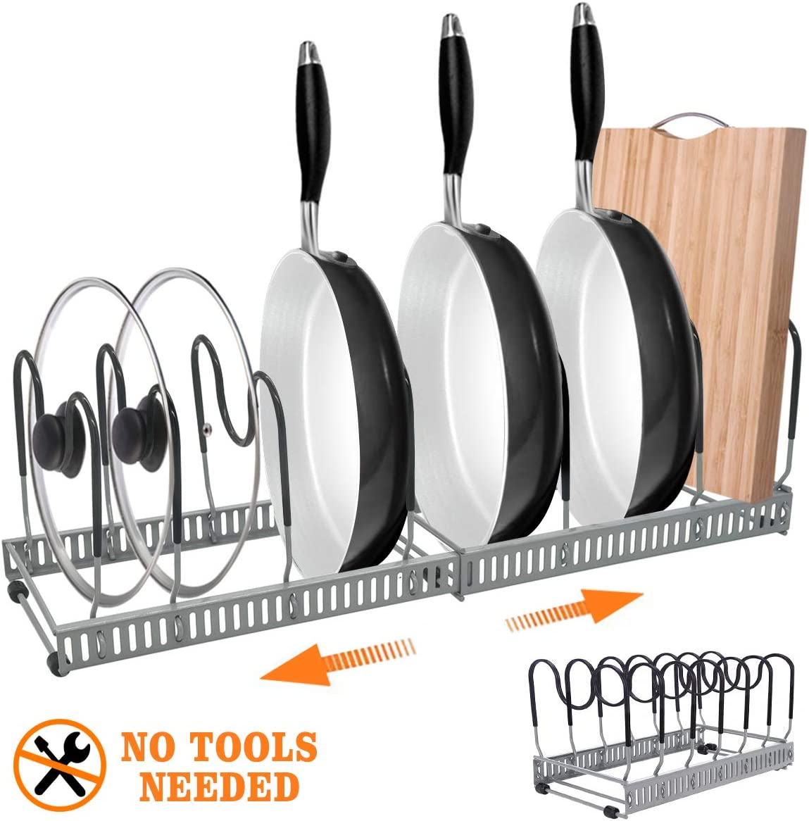 """Expandable Pan Rack Organizer with Knife Holder,G-TING 7+Adjustable Pot Lid Holders Bakeware Rack,Kitchen Cookware Pantry Cabinet Storage Rack with 7 Expandable Adjustable Dividers (Up to 23"""") (Grey)"""