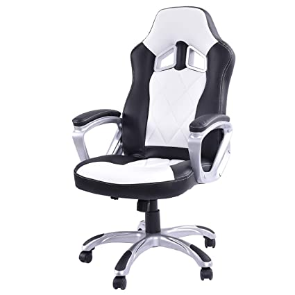 Giantex High Back Racing Style Bucket Seat Gaming Chair Swivel Office Desk  Task (White)