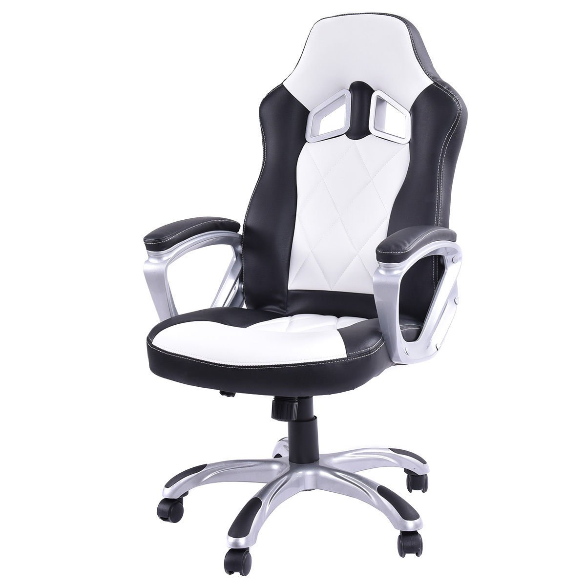 High Back Racing Style Bucket Seat Gaming Chair Swivel Office Desk Task White + FREE E-Book by Eight24hours