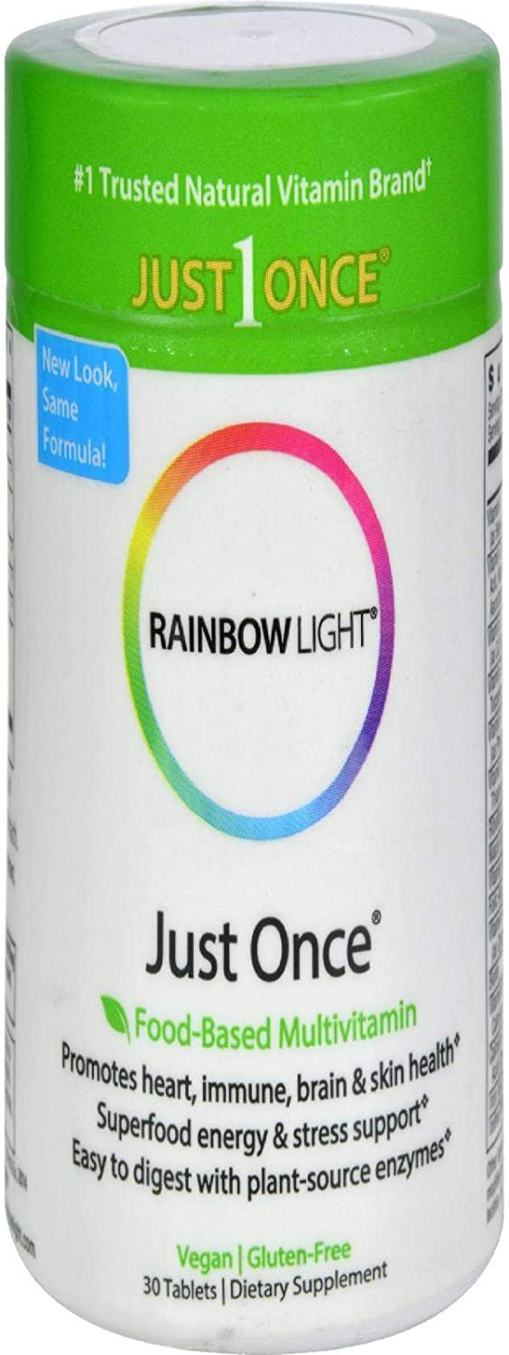 Rainbow Light - Just Once Multivitamin - Food-based, Natural Ingredients, Provides Key Vitamins, Minerals, Antioxidant Protection, Supports Energy, Digestion, Skin, Eye and Immune Health - 30 Tablets