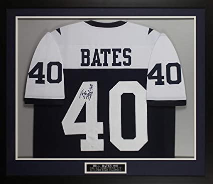 b7e9c873b Bill Bates Autographed White Cowboys Jersey - Beautifully Matted and Framed  - Hand Signed By Bill