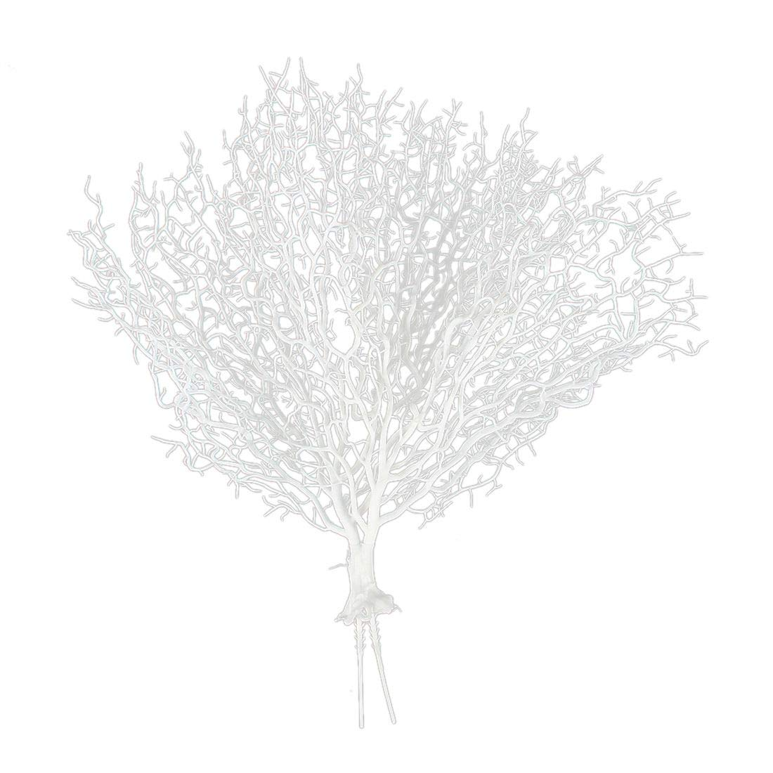 SODIAL(R) 1pcs Beautiful Artificial Fan Shaped Plastic Dried Branch Plant Home Wedding Decoration Gift (white) Long 45cm wide 50cm New