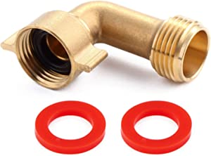 "Litorange Industrial Garden Hose Elbow Connector 90 Degree Brass Hose Elbow Fitting Quick Swivel Connect Adapter Thread Size 3/4"" + 2 Pressure Washers"
