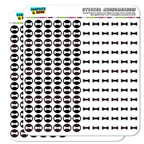 Dog Bone Dots Planner Calendar Scrapbooking Crafting Stickers - Black Gray - -