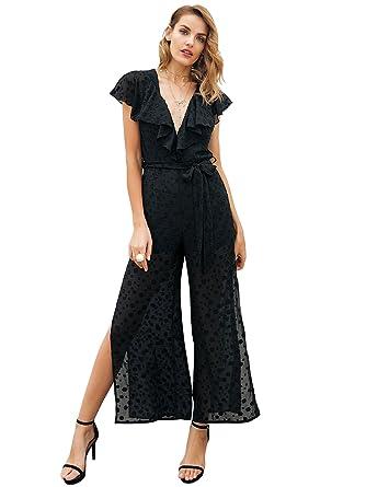 be9879f35d79b Simplee Women Elegant V Neck Ruffle Chiffon Floral Print Wide Leg Split  Jumpsuit