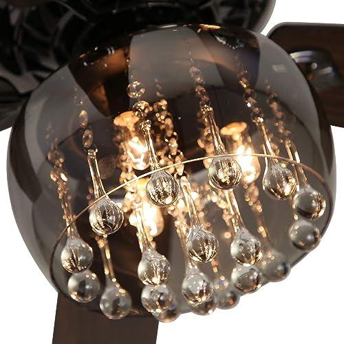 RainierLight 52 inch Modern Crystal Ceiling Fan Lamp 5 Reversible Wood Blades 3 Speed Low/Medium/High Remote Control Quiet Energy Saving/Decoration Fan