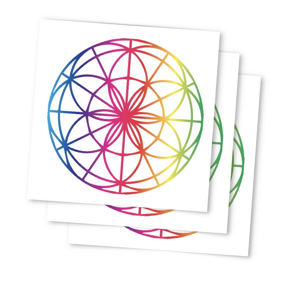 7fbdd630a Amazon.com : Tattoo Moments Sacred Geometry Temporary Tattoos - Rainbow Sri  Yantra (Set of 3 Tattoos) - Fashionable, Unique, Skin Safe and Waterproof  ...