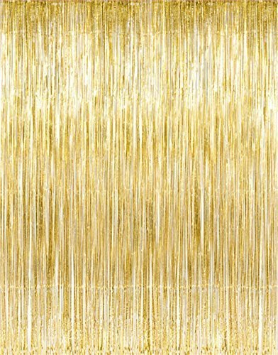 Kangaroo Gold Foil Fringe Curtains  by Party Supplies