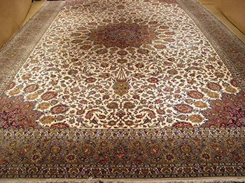 Handmade Rug 13 x 20 Traditional High End Original Sheik Safi Persian Ivory Rug