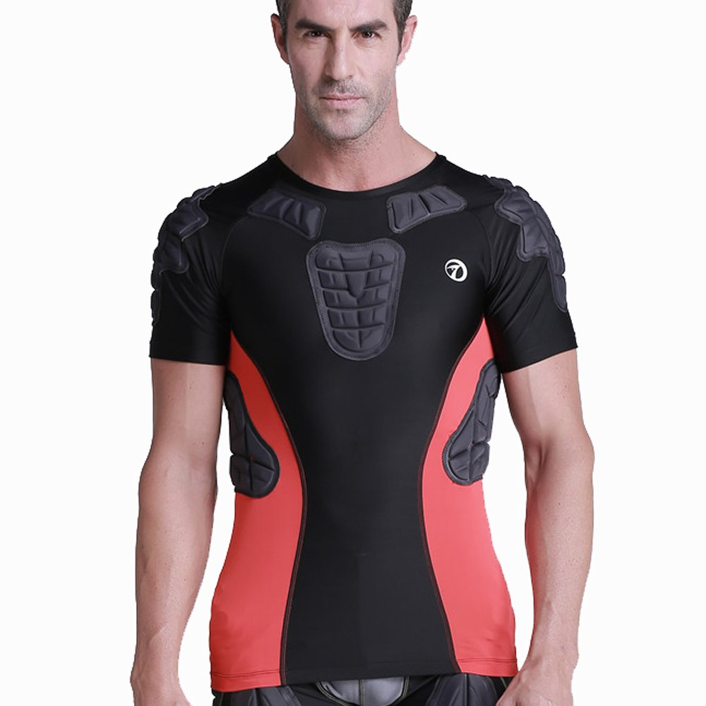 TUOY Men's Youth Padded Compression Shirt Chest Rib Protector Shirt for Football Paintball by TUOY