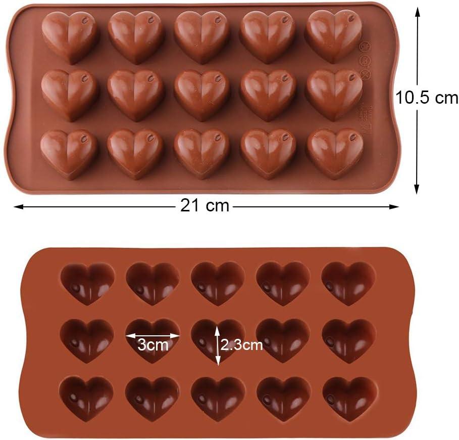 MUCHEN SHOP Molde de Chocolate Silicona,2 Pieza Antiadherentes Moldes de Caramelo Moldes de Chocolate en Forma de Flor Coraz/ón para Fiesta de Navidad de San Valent/ín