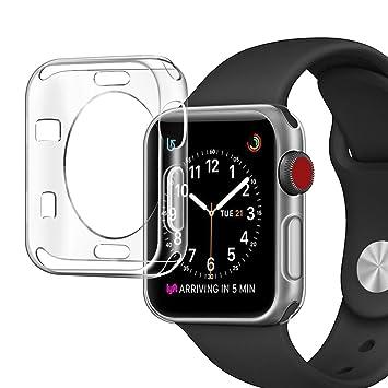 Funda Apple Watch Series 3 42MM, Siuber Delgado Crystal Clear Transparent Carcasa [Shock-Absorción, Ultra-delgado, Anti Arañazos] Premium Flexible TPU ...