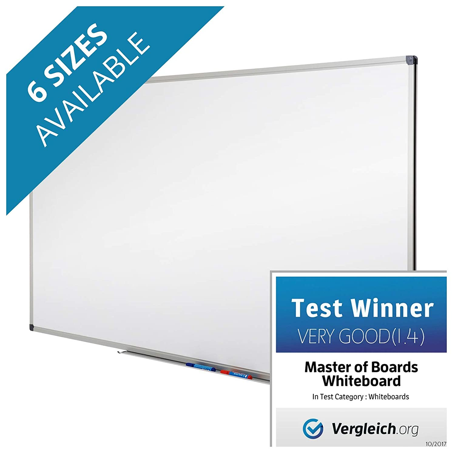 Master of Boards Drywipe Magnetic Whiteboard - 44' x 32' | Includes Aluminum Frame and Pen Tray