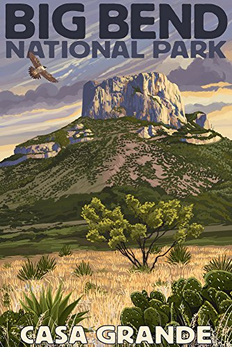 (Big Bend National Park, Texas - Casa Grande (12x18 Art Print, Wall Decor Travel Poster))
