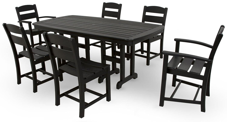 Ivy Terrace IVS108-1-BL Classics 7-Piece Dining Set, Black