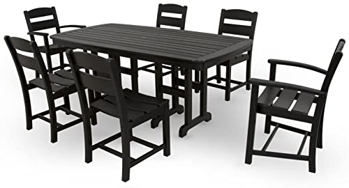Ivy Terrace IVS108-1-BL Classics 7-Piece Dining Set, Black