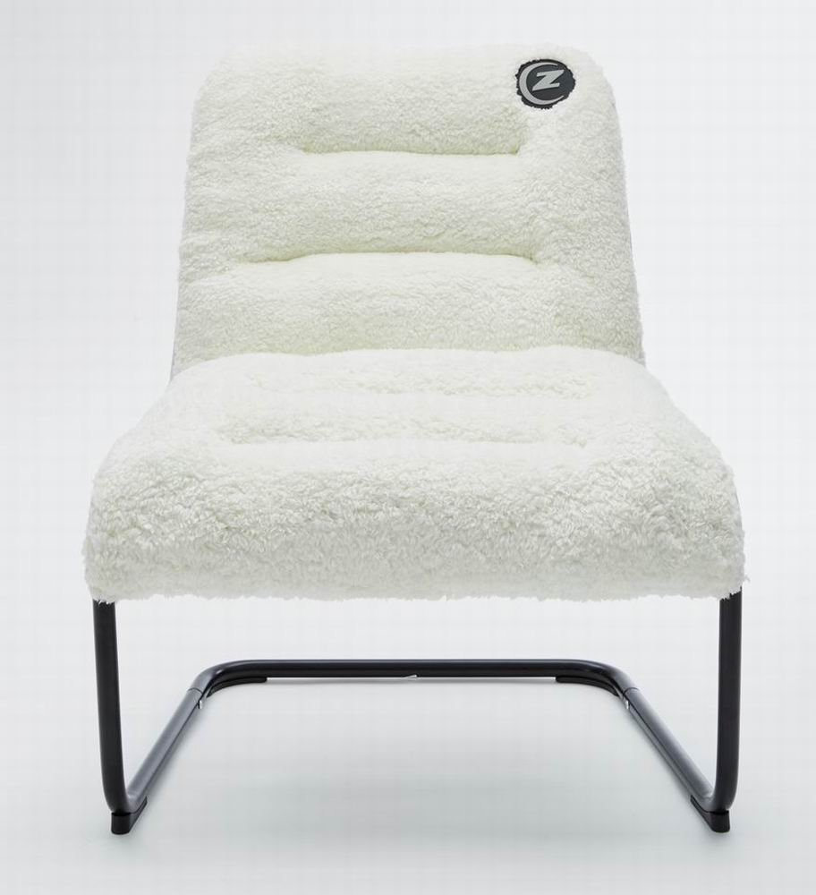 Lounger Chair White Sherpa Soft Cushion for Living Room Dorm Bedroom Patio