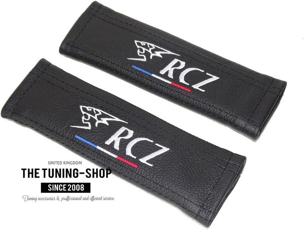 2/x Sicherheitsgurt Armlehne Schultern Covers Black Leder RCZ Frankreich Stickerei