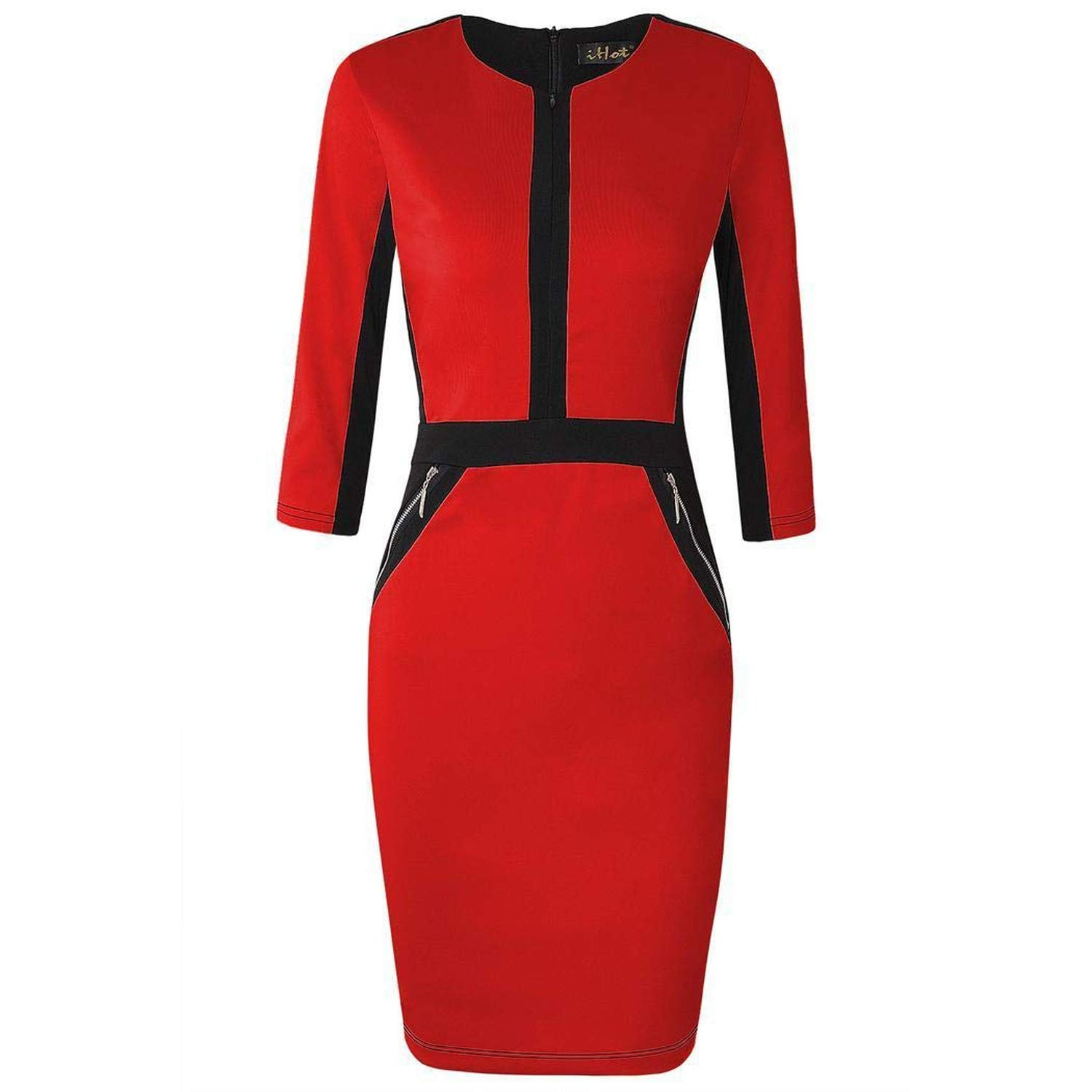 Red Yksth Women Fashion Round Neck Long Sleeve Contrast color Patchwork Dress Dresses