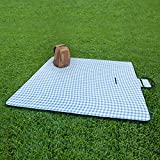 ZhongBan Extra Large Picnic & Outdoor Blanket with Waterproof Backing 80' x 90' (White&Blue)