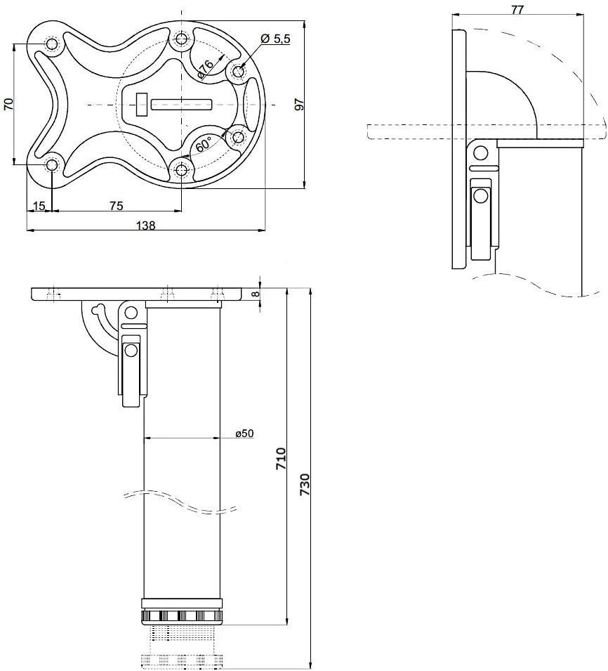 2 x 870mm Plegable Patas De Mesa Pie De Mueble Cromo Cepillado /ø50mm