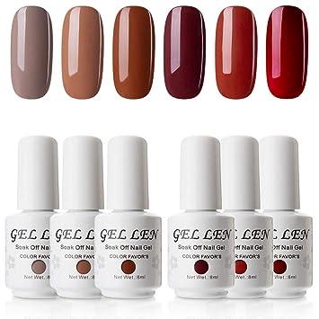 Amazon.com: Gellen Gel Polish Set Caramel Colors Series - 6 Colors ...