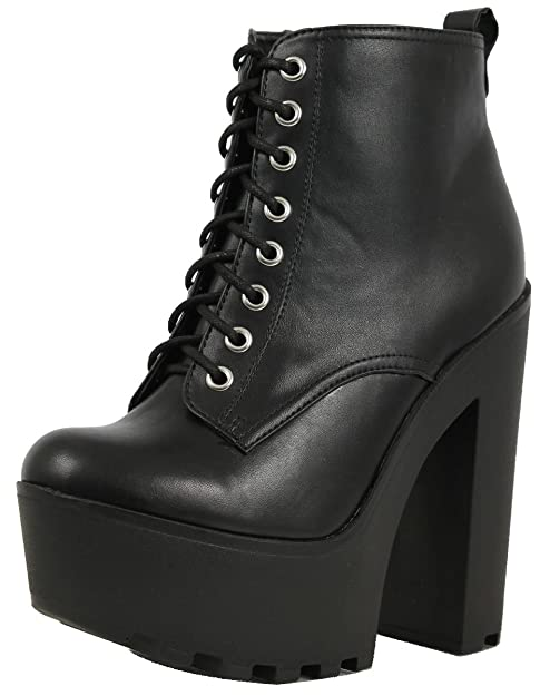 a7078c3c4e1b0 Soda Women's Gru Faux Leather Lace-up Thick Platform Chunky Heel Lug Ankle  Bootie,