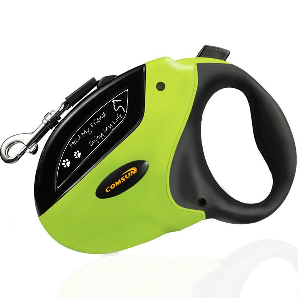 COMSUN Retractable Dog Leashes, Pet Leash Dog Lead 16ft for Medium Large Dogs up to 110lbs, Tangle Free, One Button Break & Lock ABS Casing, Nylon Ribbon Green