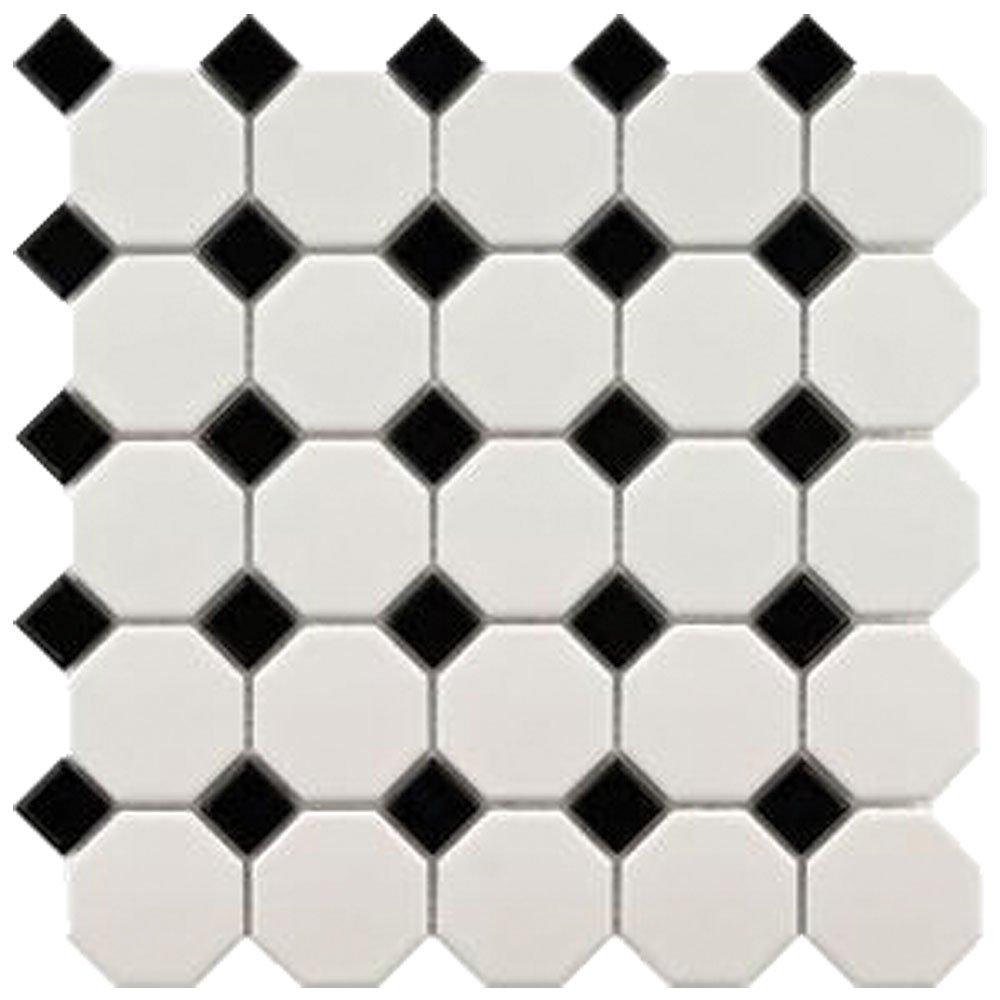 Snow White 12x12 White Black Octagon Mosaic 11 Pcscarton 11 Sq
