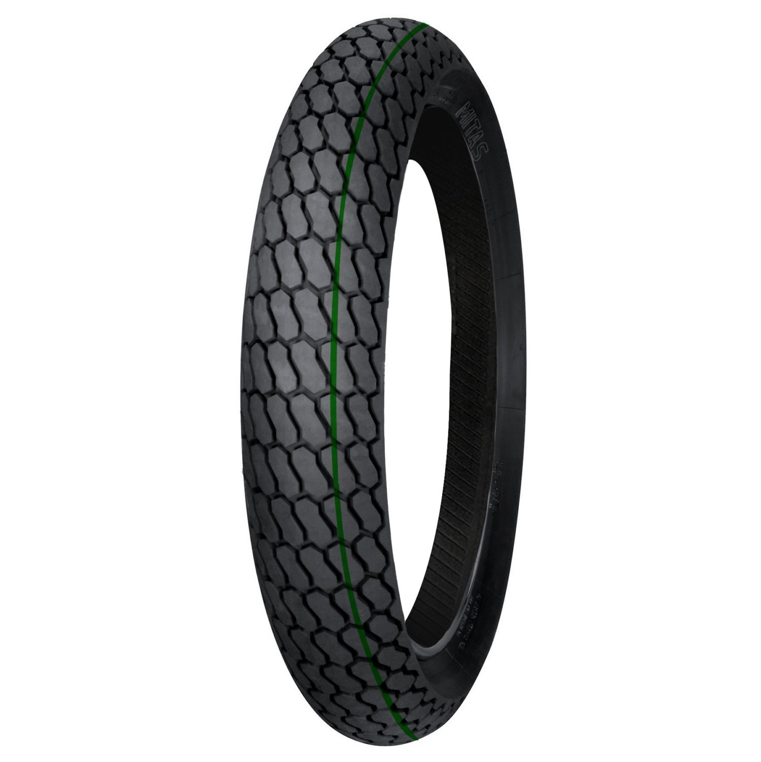 H-18 Mitas Motorcycle Front Flat Track Tire 130/80-19 Green Stripe Soft