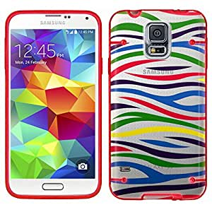Samsung Galaxy S5 Colorful Zebra on Clear with Glow Red Trim Case