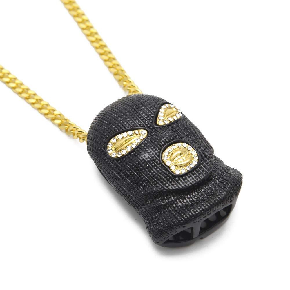 dytinina Hip Hop Pendant Stainless Steel Rhinestone Cool Diamond Mask Necklace